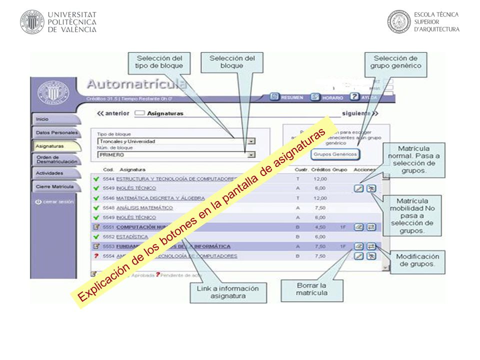 Explicación de los botones en la pantalla de asignaturas