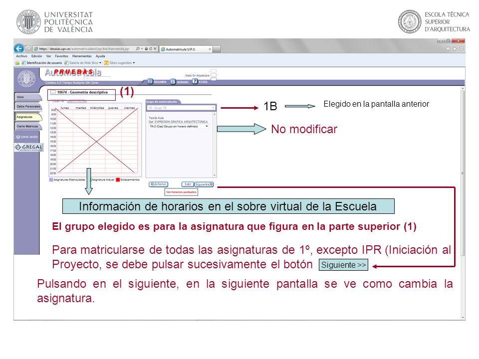 Información de horarios en el sobre virtual de la Escuela