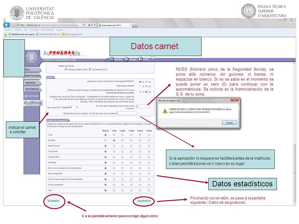 Datos carnet Datos estadísticos