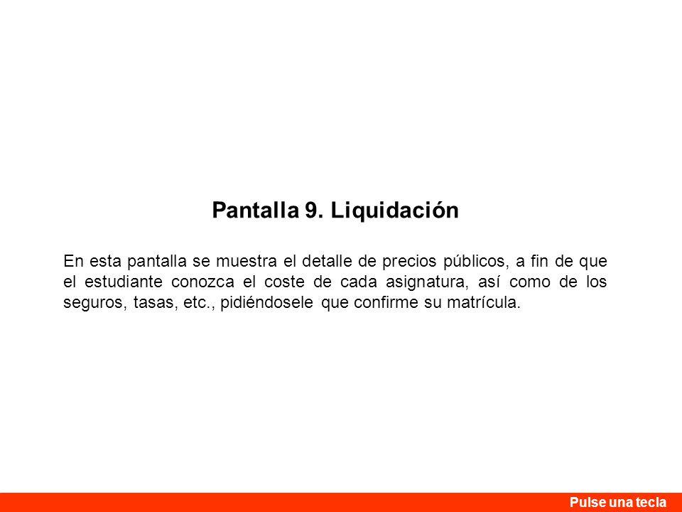 Pantalla 9. Liquidación