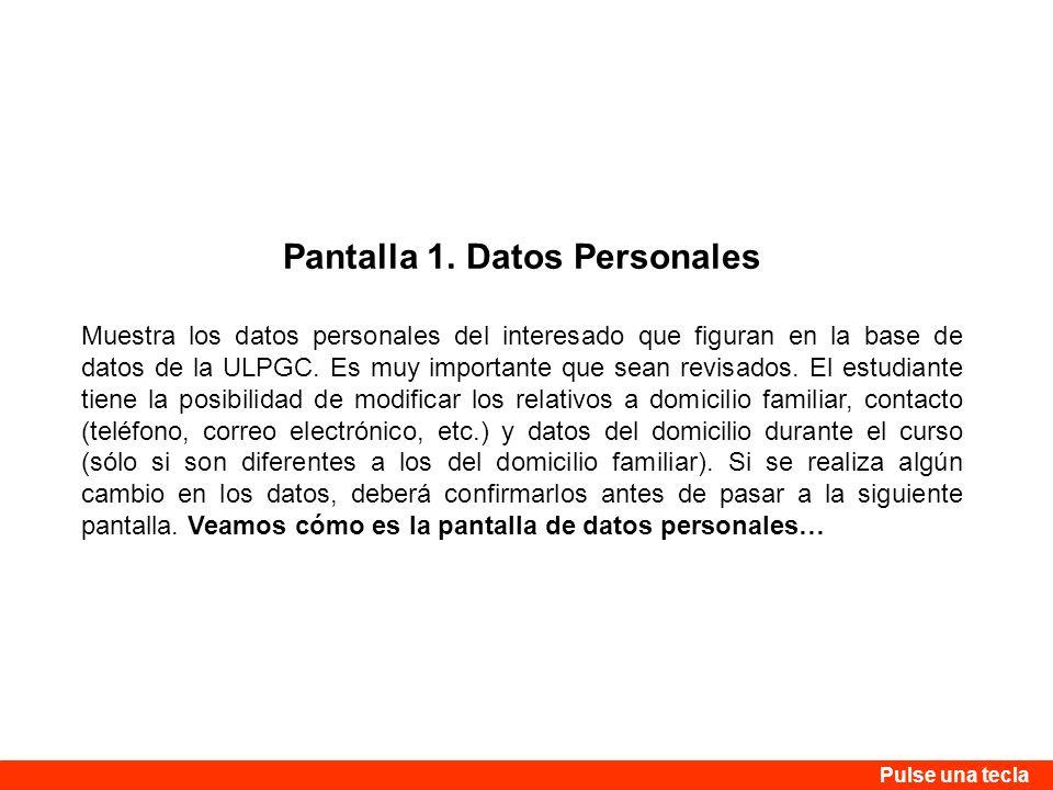 Pantalla 1. Datos Personales