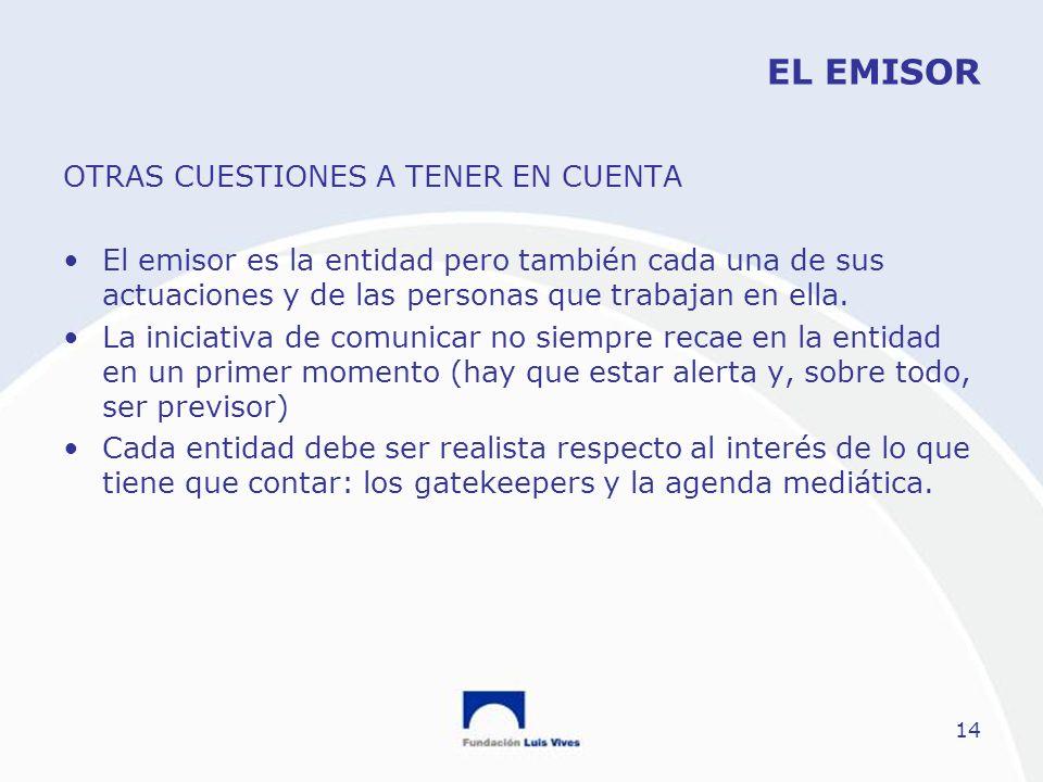 EL EMISOR OTRAS CUESTIONES A TENER EN CUENTA