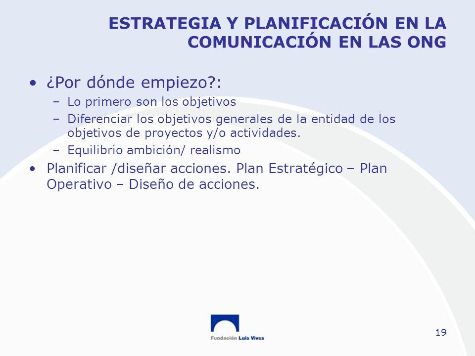ESTRATEGIA Y PLANIFICACIÓN EN LA COMUNICACIÓN EN LAS ONG