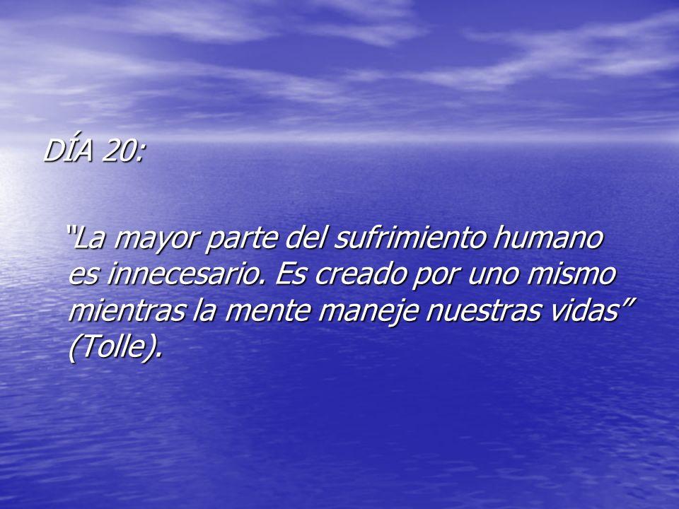 DÍA 20: La mayor parte del sufrimiento humano es innecesario.