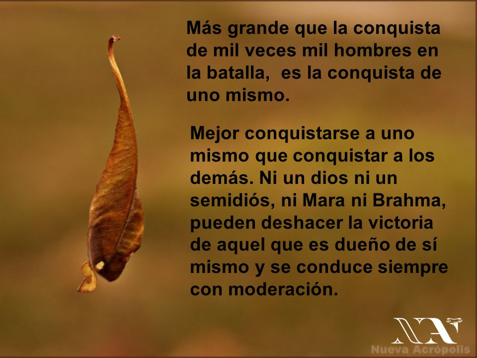 Más grande que la conquista de mil veces mil hombres en la batalla, es la conquista de uno mismo.