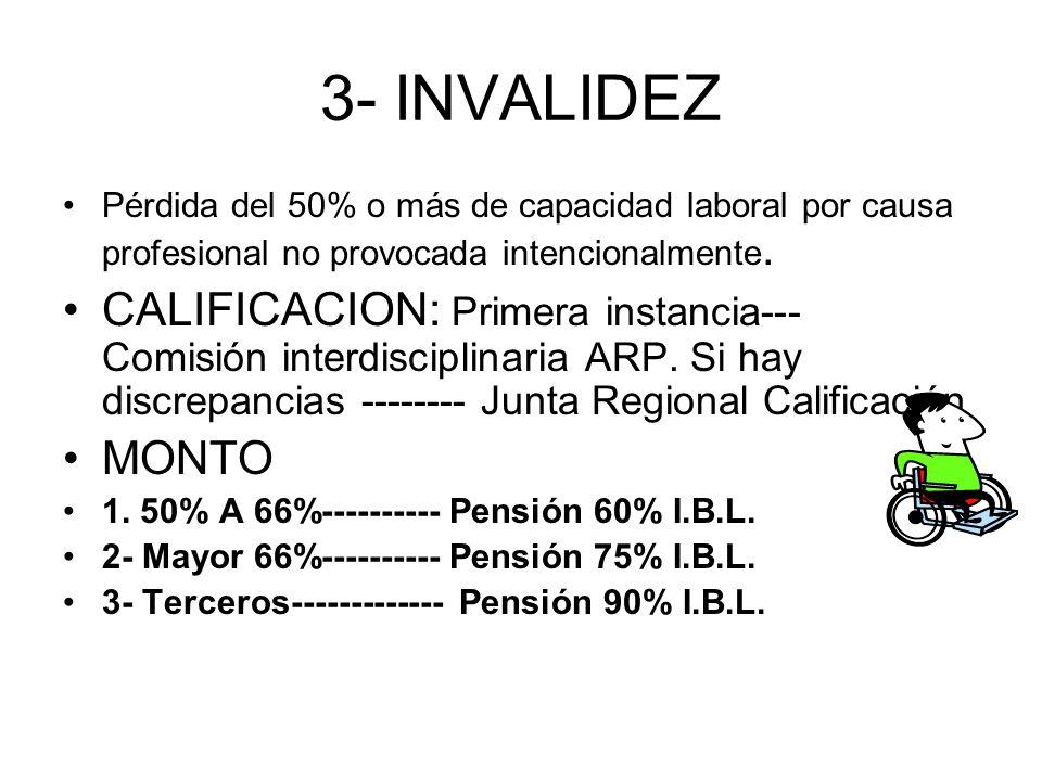 3- INVALIDEZ Pérdida del 50% o más de capacidad laboral por causa profesional no provocada intencionalmente.