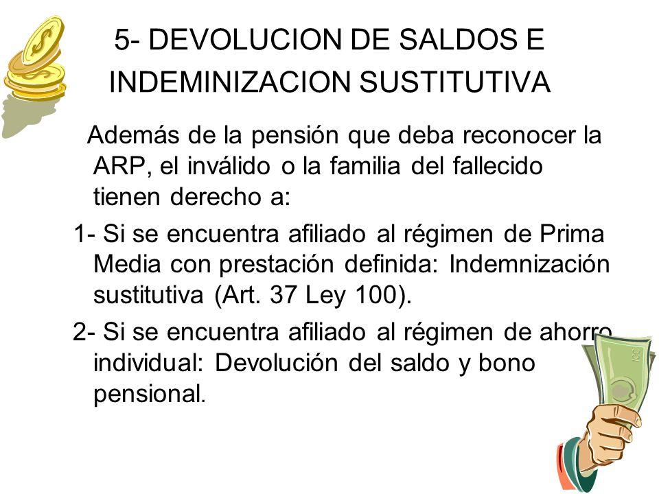 5- DEVOLUCION DE SALDOS E INDEMINIZACION SUSTITUTIVA