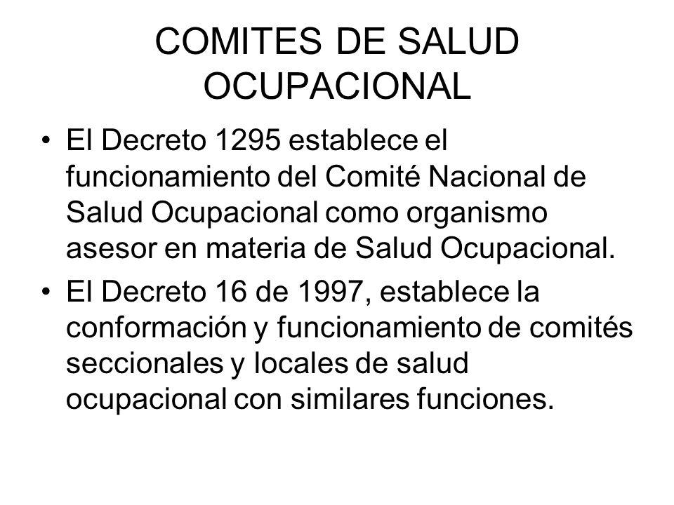 COMITES DE SALUD OCUPACIONAL
