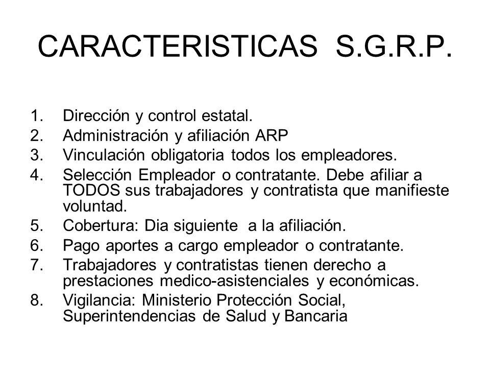 CARACTERISTICAS S.G.R.P. Dirección y control estatal.