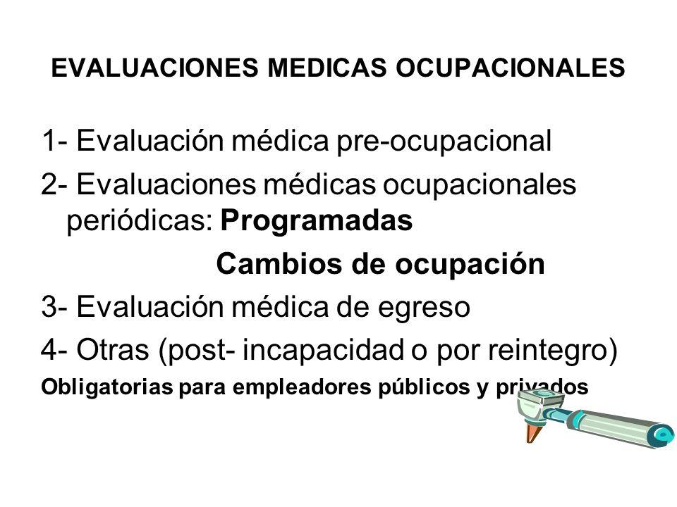 EVALUACIONES MEDICAS OCUPACIONALES