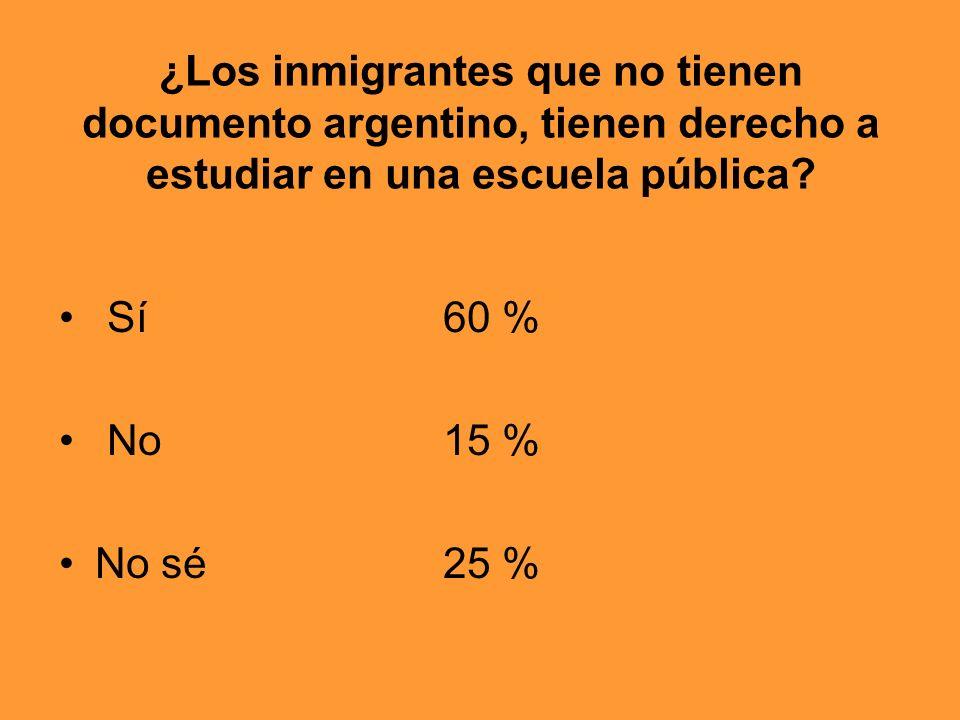 ¿Los inmigrantes que no tienen documento argentino, tienen derecho a estudiar en una escuela pública