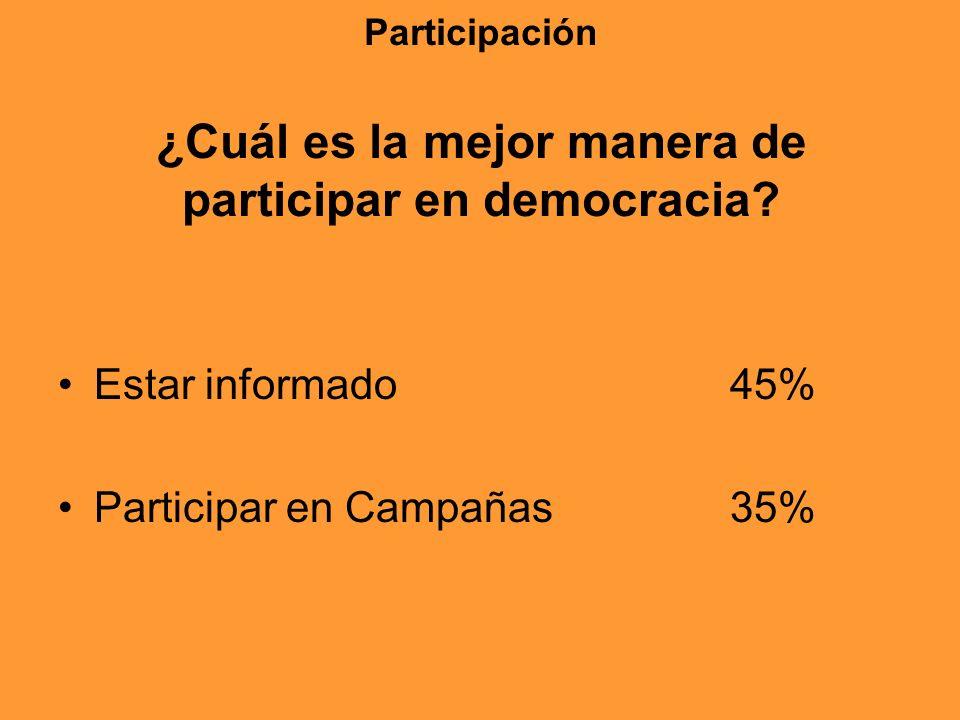 Participación ¿Cuál es la mejor manera de participar en democracia