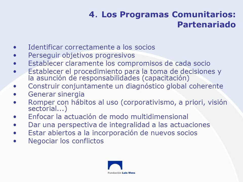 4. Los Programas Comunitarios: Partenariado