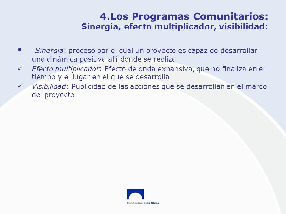 4.Los Programas Comunitarios: Sinergia, efecto multiplicador, visibilidad: