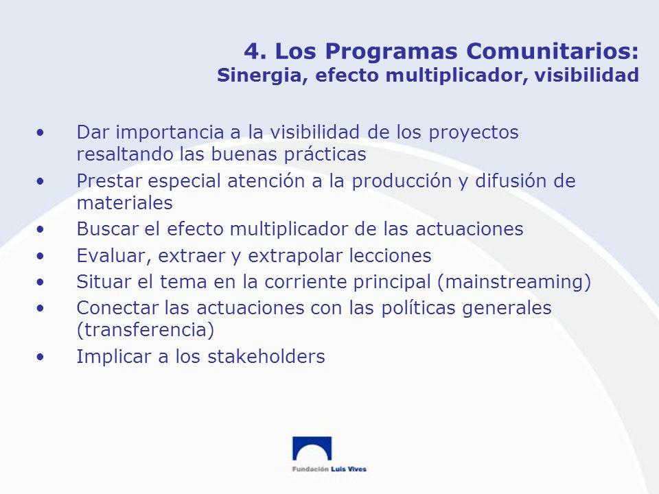 4. Los Programas Comunitarios: Sinergia, efecto multiplicador, visibilidad