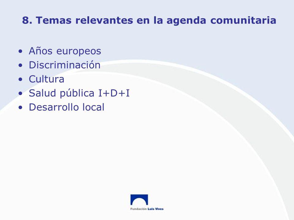 8. Temas relevantes en la agenda comunitaria