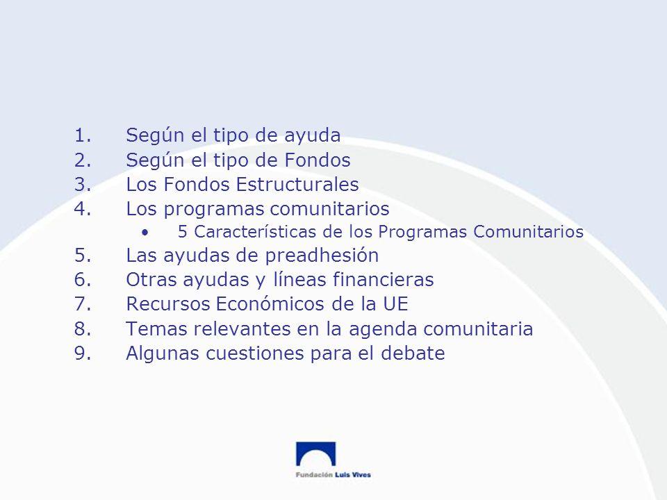 Los Fondos Estructurales Los programas comunitarios