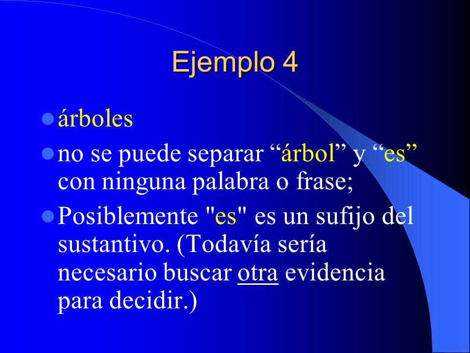 Ejemplo 4árboles. no se puede separar árbol y es con ninguna palabra o frase;
