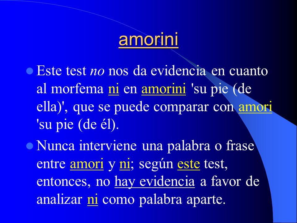 amoriniEste test no nos da evidencia en cuanto al morfema ni en amorini su pie (de ella) , que se puede comparar con amori su pie (de él).