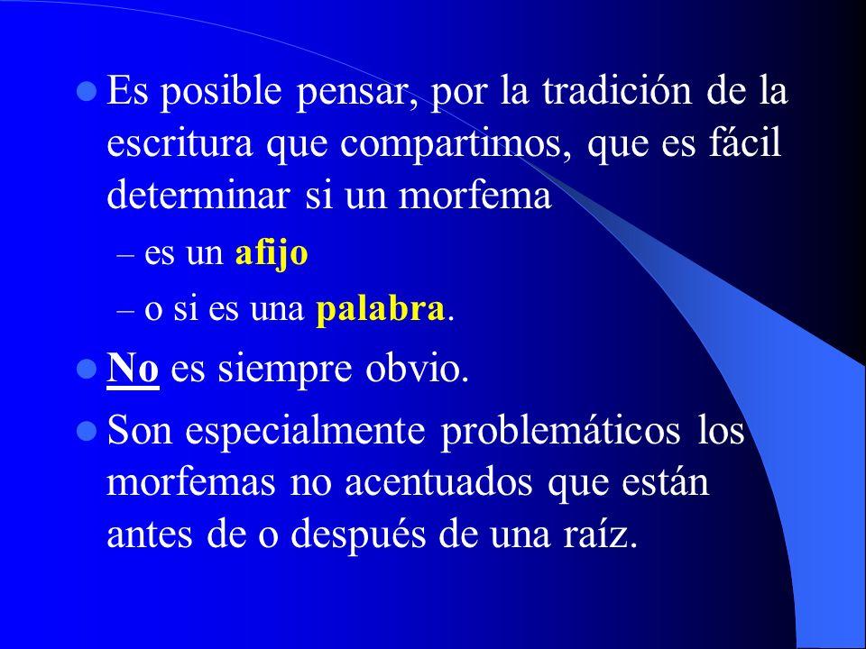Es posible pensar, por la tradición de la escritura que compartimos, que es fácil determinar si un morfema
