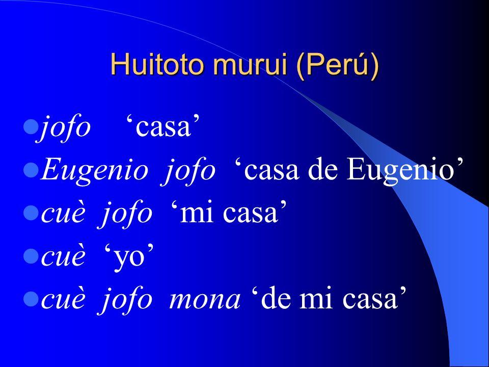 Eugenio jofo 'casa de Eugenio' cuè jofo 'mi casa' cuè 'yo'