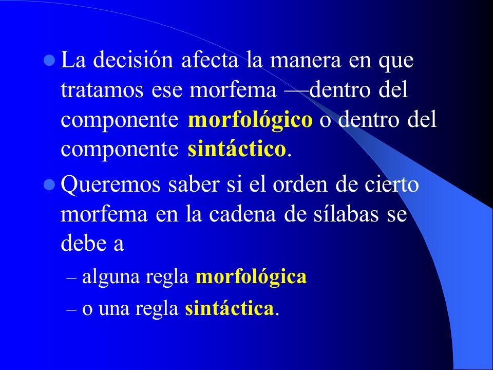 La decisión afecta la manera en que tratamos ese morfema —dentro del componente morfológico o dentro del componente sintáctico.