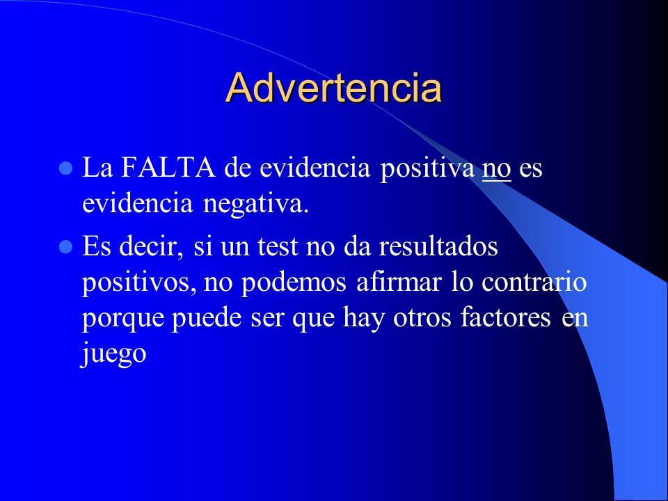 Advertencia La FALTA de evidencia positiva no es evidencia negativa.