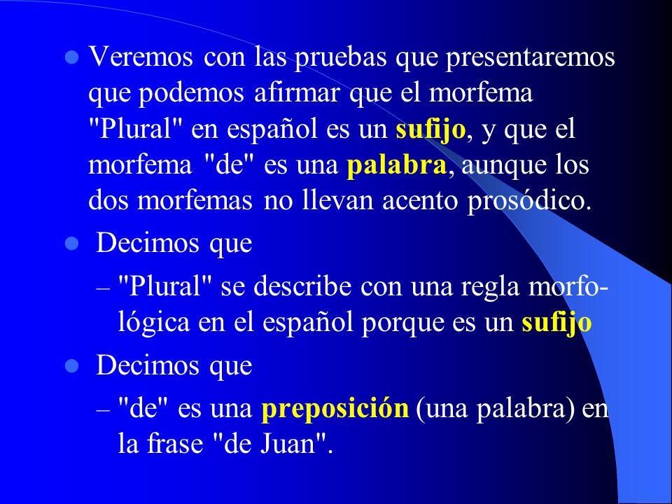 Veremos con las pruebas que presentaremos que podemos afirmar que el morfema Plural en español es un sufijo, y que el morfema de es una palabra, aunque los dos morfemas no llevan acento prosódico.