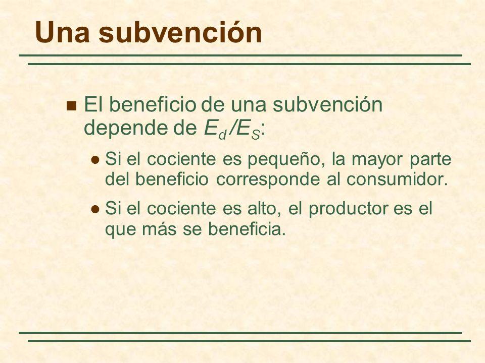 Una subvención El beneficio de una subvención depende de Ed /ES: