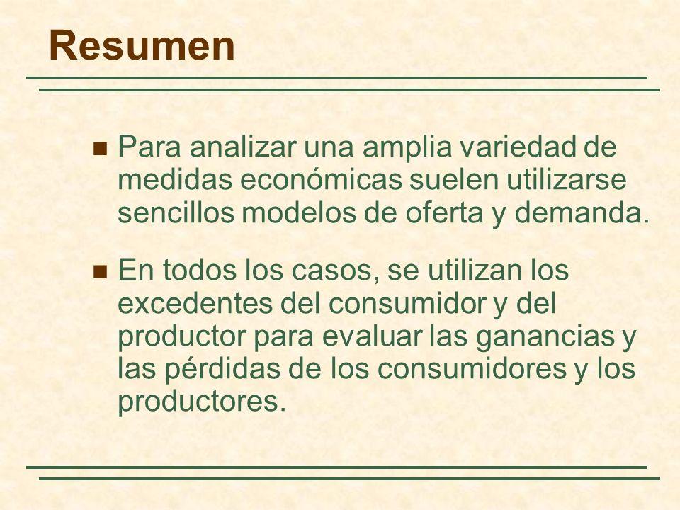 Resumen Para analizar una amplia variedad de medidas económicas suelen utilizarse sencillos modelos de oferta y demanda.