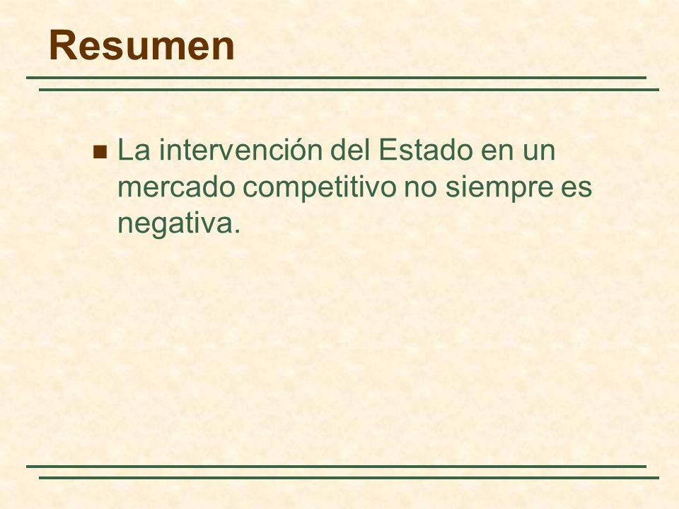 Resumen La intervención del Estado en un mercado competitivo no siempre es negativa. 124