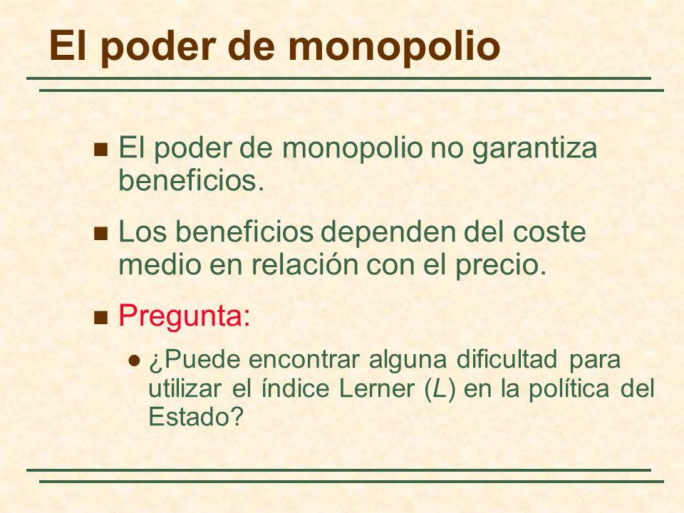 El poder de monopolio El poder de monopolio no garantiza beneficios.