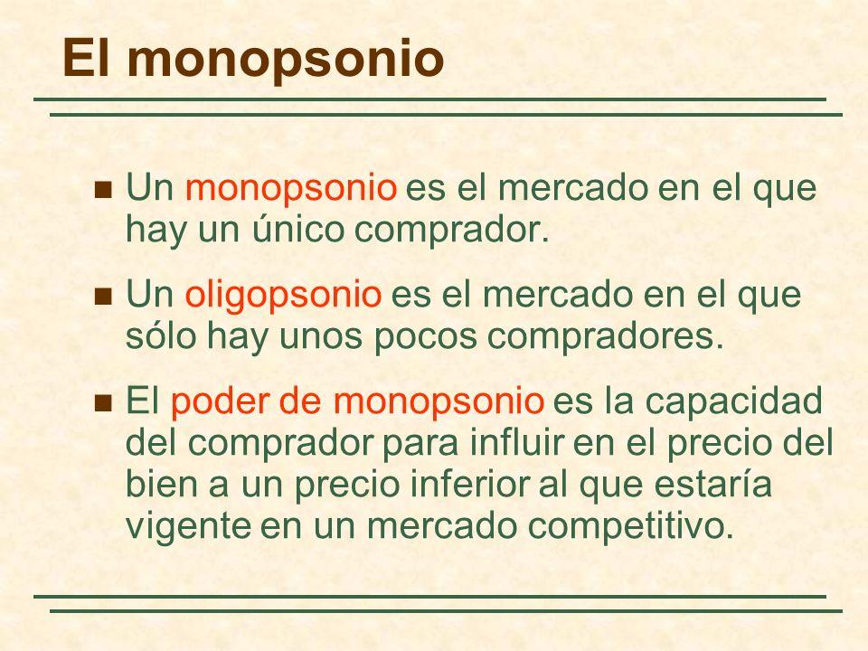 El monopsonio Un monopsonio es el mercado en el que hay un único comprador. Un oligopsonio es el mercado en el que sólo hay unos pocos compradores.
