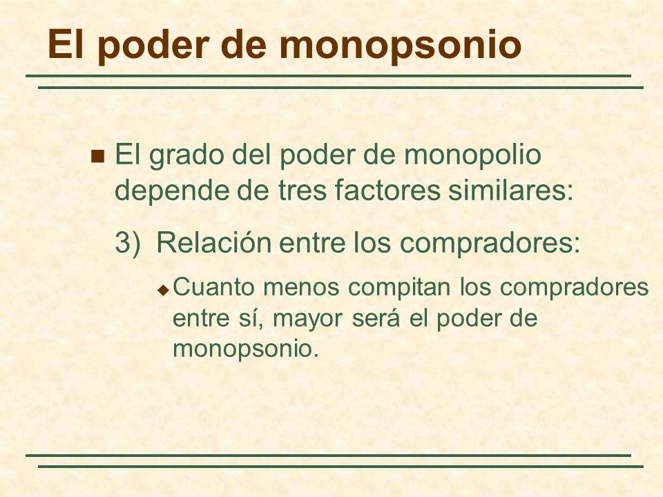 El poder de monopsonio El grado del poder de monopolio depende de tres factores similares: 3) Relación entre los compradores: