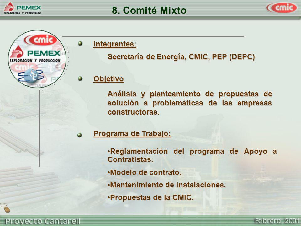 8. Comité Mixto Integrantes: Secretaría de Energía, CMIC, PEP (DEPC)
