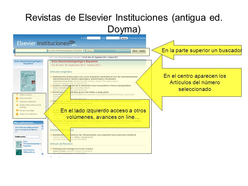 Revistas de Elsevier Instituciones (antigua ed. Doyma)