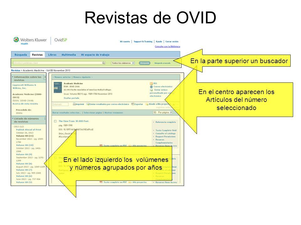 Revistas de OVID En la parte superior un buscador
