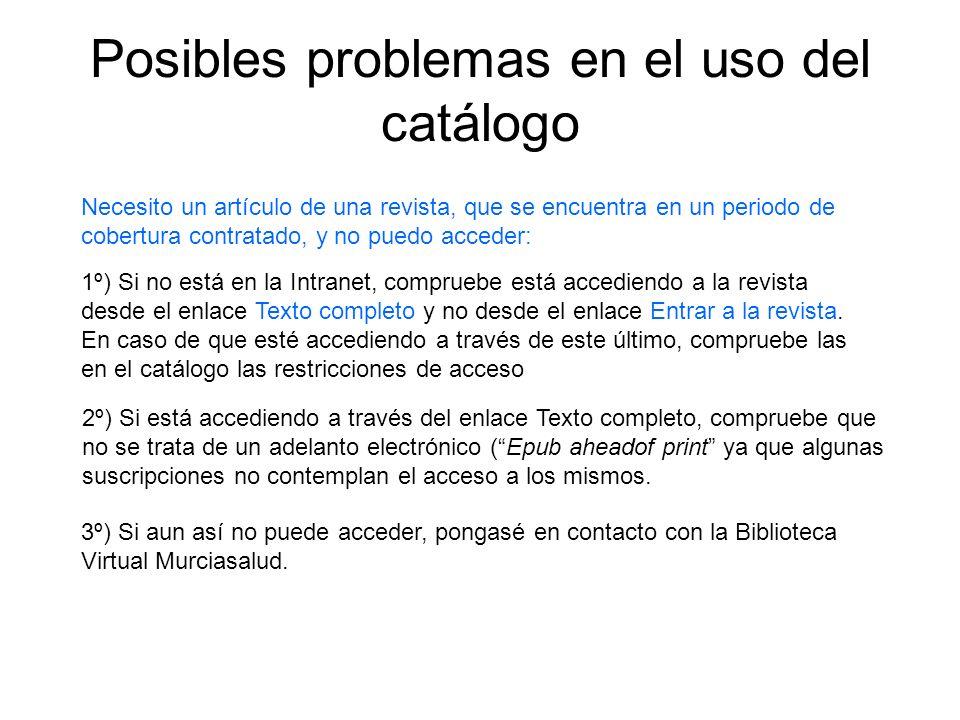 Posibles problemas en el uso del catálogo