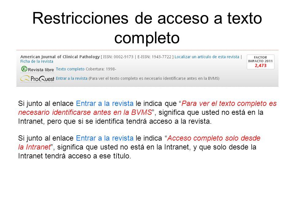 Restricciones de acceso a texto completo