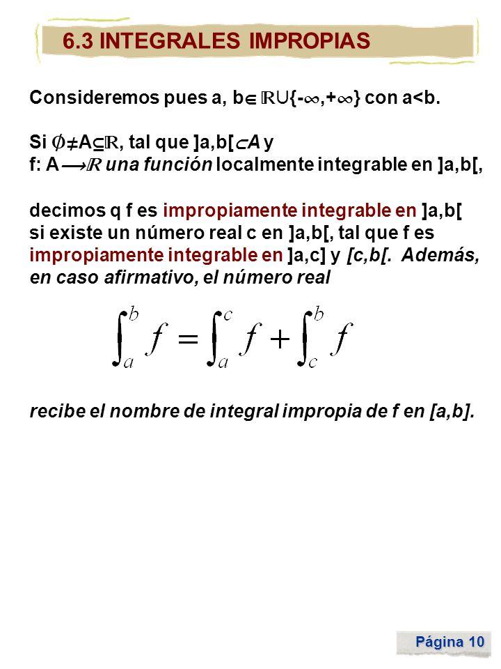 6.3 INTEGRALES IMPROPIAS Consideremos pues a, b {-,+} con a<b.