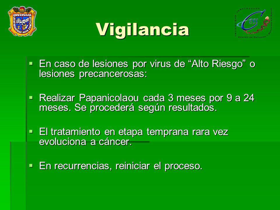 Vigilancia En caso de lesiones por virus de Alto Riesgo o lesiones precancerosas: