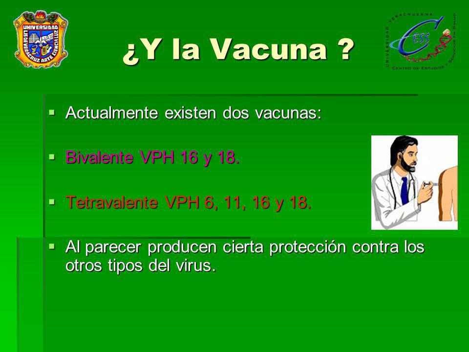 ¿Y la Vacuna Actualmente existen dos vacunas: Bivalente VPH 16 y 18.