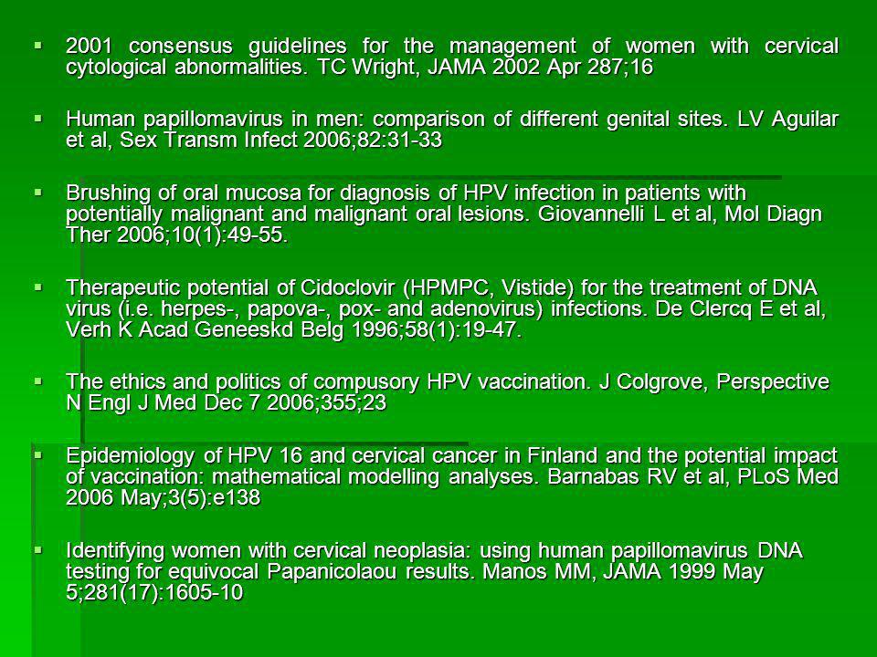 2001 consensus guidelines for the management of women with cervical cytological abnormalities. TC Wright, JAMA 2002 Apr 287;16