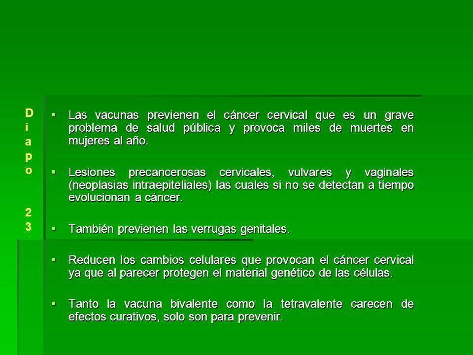Diapo 23. Las vacunas previenen el cáncer cervical que es un grave problema de salud pública y provoca miles de muertes en mujeres al año.