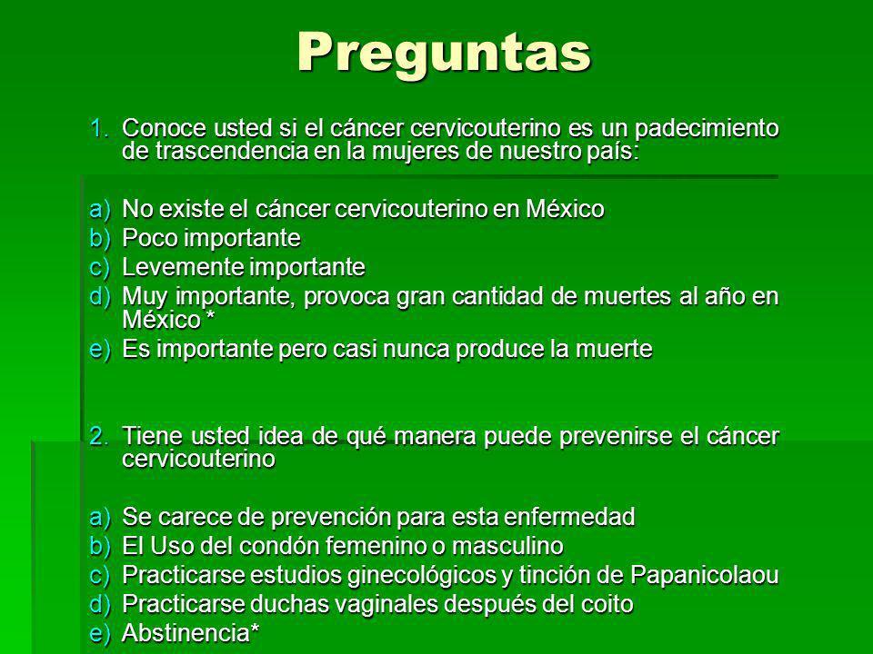 Preguntas Conoce usted si el cáncer cervicouterino es un padecimiento de trascendencia en la mujeres de nuestro país: