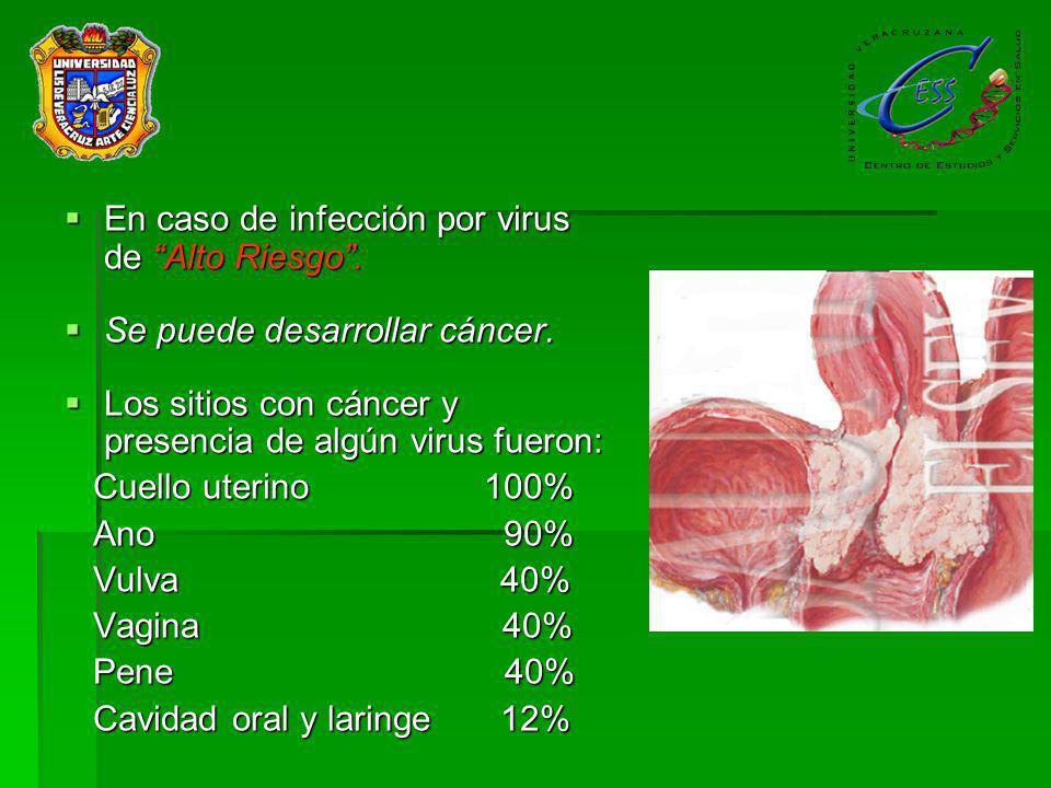 En caso de infección por virus de Alto Riesgo .