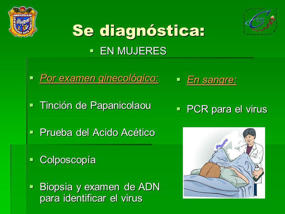 Se diagnóstica: EN MUJERES Por examen ginecológico: En sangre:
