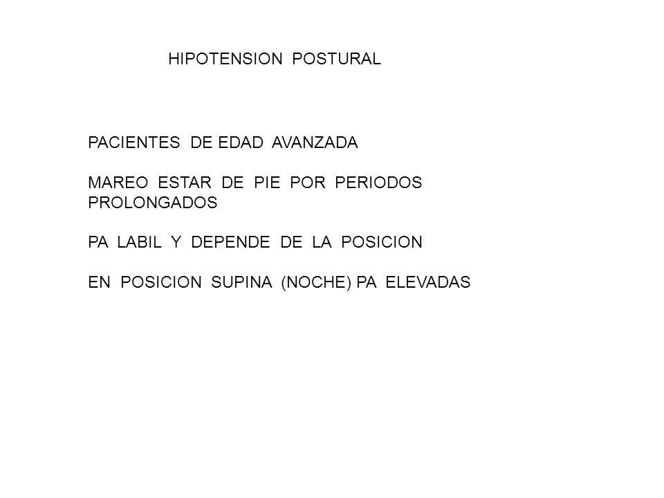 HIPOTENSION POSTURAL PACIENTES DE EDAD AVANZADA. MAREO ESTAR DE PIE POR PERIODOS PROLONGADOS.