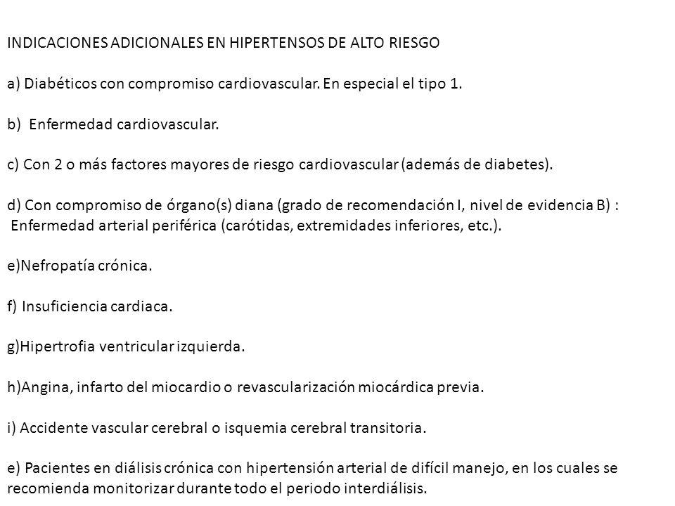 INDICACIONES ADICIONALES EN HIPERTENSOS DE ALTO RIESGO