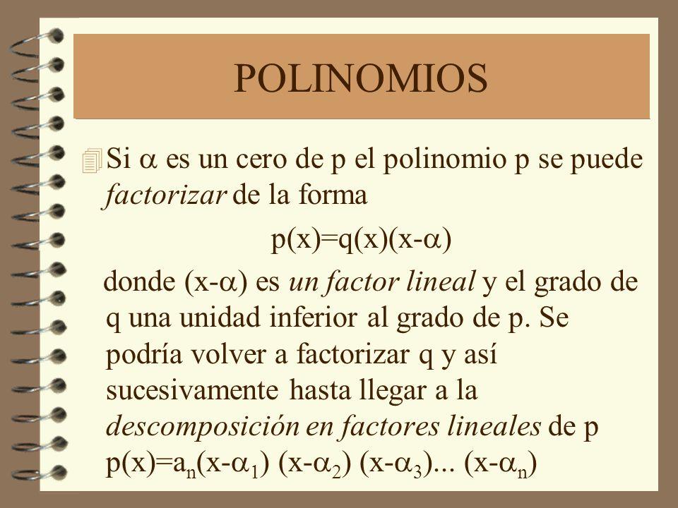 POLINOMIOS Si a es un cero de p el polinomio p se puede factorizar de la forma. p(x)=q(x)(x-a)